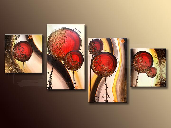 Quadri dipinti ASTRATTI quadrittici 120x60 cm