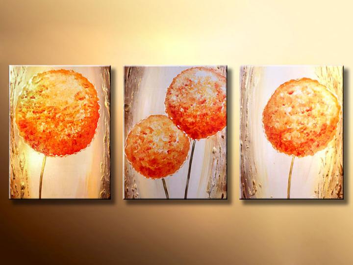Quadri dipinti ASTRATTI trittici 120x50 cm