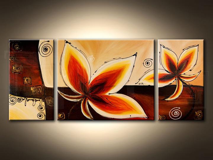 Quadri dipinti FIORI trittici 120x50 cm