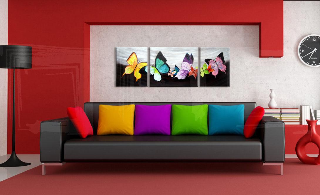 Quadri dipinti farfalla trittici 140x50 cm for Quadri trittici moderni
