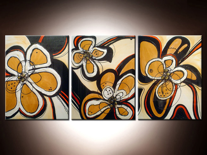 Quadri dipinti fiori trittici 120x50 cm for Quadri trittici moderni