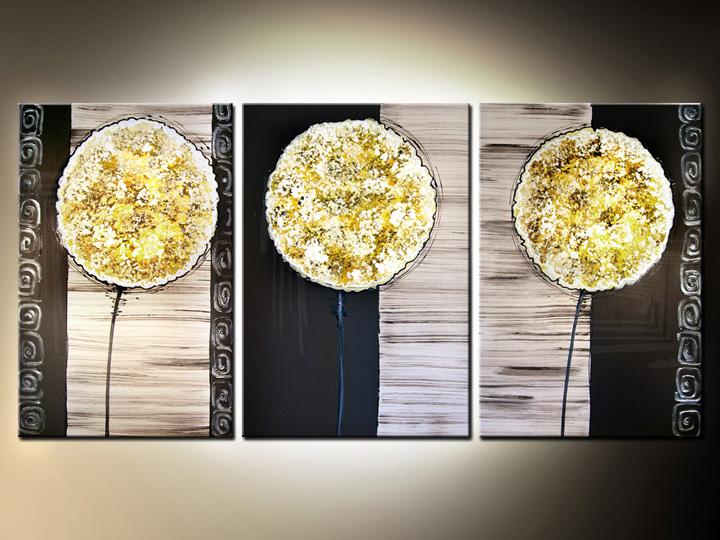 Quadri dipinti fiori trittici 120x60 cm for Quadri trittici moderni