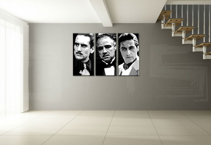 Quadri dipinti a mano Pop Art GODFATHER di 3 pezzi god123