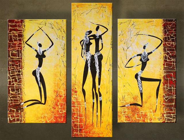 Quadri dipinti africa trittici for Quadri trittici moderni