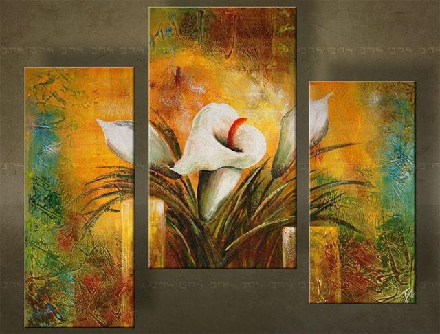 Quadri dipinti fiori trittici for Quadri trittici moderni
