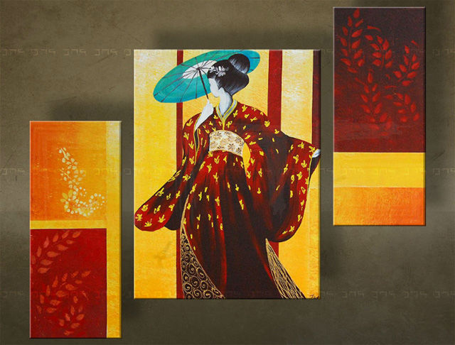 Quadri dipinti geisha trittici for Quadri trittici moderni