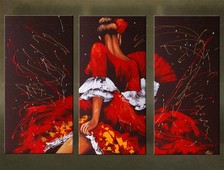 Quadri dipinti ballerina trittici 5957fa for Quadri trittici moderni