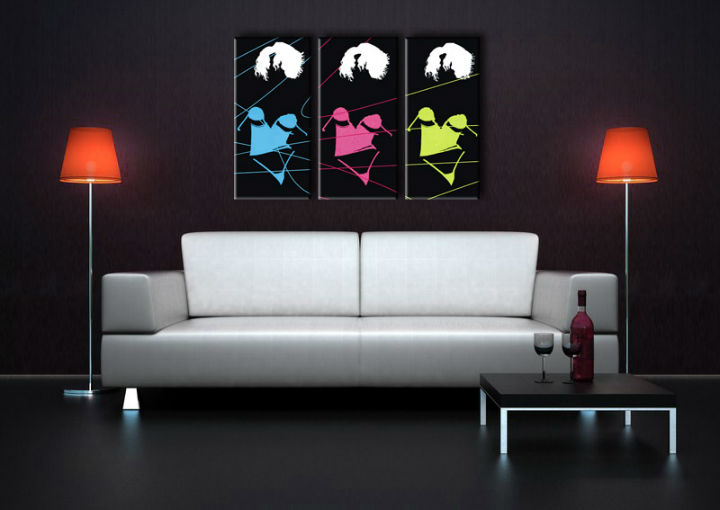 Quadri dipinti a mano Pop Art Three sexy woman di 3 pezzi 3s