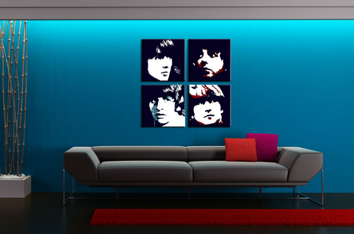 Quadri dipinti a mano Pop Art BEATLES di 4 pezzi beat