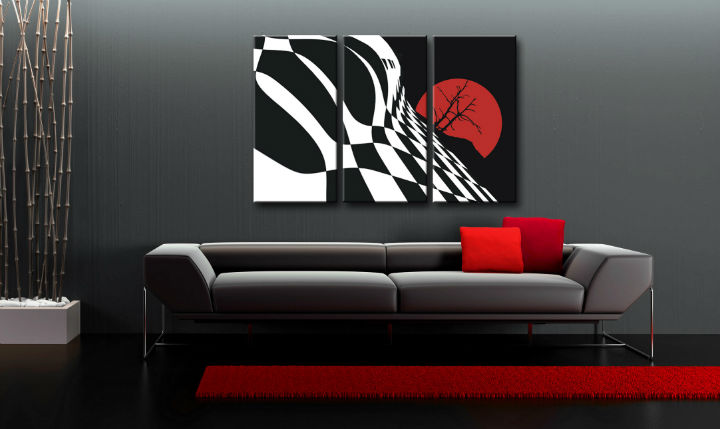 Quadri dipinti a mano Pop Art Abstract Chessboard di 3 pezzi fl