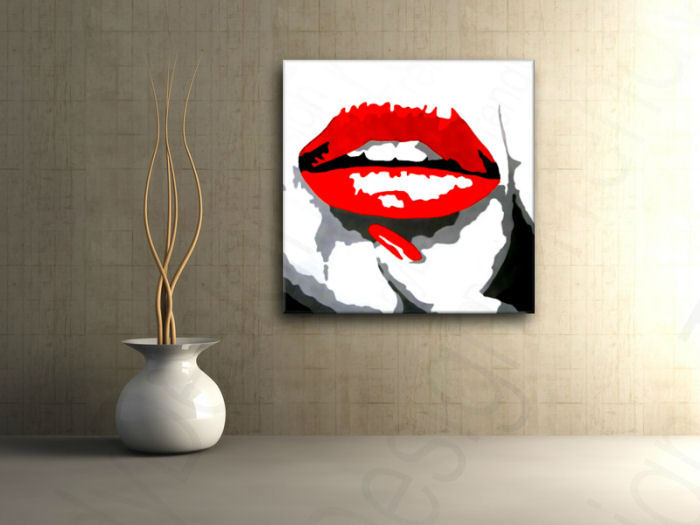 Quadri dipinti a mano Pop Art RED LIPS mund