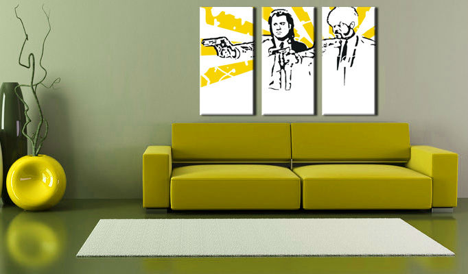 Quadri dipinti a mano Pop Art Pulp fiction di 3 pezzi pulp2